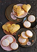 Mini Hanseaten (colourfully decorated biscuits filled with jam) and nougat hearts