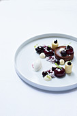 Chocolate and blueberry dessert