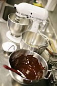 Chocolate sauce in a mixing bowl