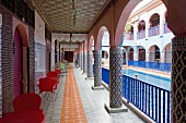 A courtyard with a pool in the Hotel Riad Moulay Said in the Rue Riad Zitoun Lakdim, Medina Marrakesh, Morocco