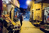 Night-time in Dar Doukkala street, Medina of Marrakesh, Morocco