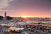 A view of the regular evening fair on Jemaa el Fna Square, Marrakesh, Morocco