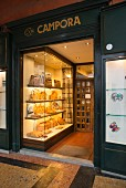 The window of Pelletteria Campora - a leather goods shop in Bologna