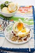 Baked eggs with soy sauce