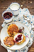 Russian ricotta pancakes with cherry compote