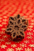 Mini snowflake-shaped chocolate cakes