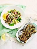 Dukkah-crusted asparagus and lamb