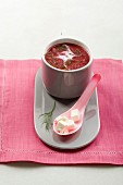 Beetroot soup with apple and feta cheese