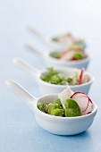 Broad bean salad with radishes and goat's cheese