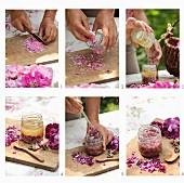 Rosenhonig mit Honig und Rosenblütenblättern zubereiten