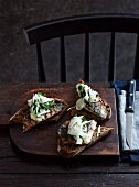 Grilled mackerel with quick kohlrabi pickles and toast