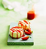 Strawberry and coconut cheesecakes