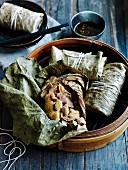 Sticky rice lotus dumplings with roast chilli vinegar