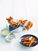 Sweet potato oven chips with lime chilli salt