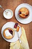 Mini berry bakes in glass ramekins