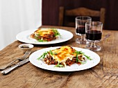 Beef lasagne with rocket and wine