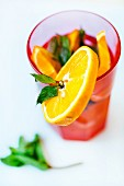 A summer drink with mint and orange