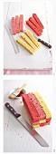 Schachbrettkuchen mit Erdbeeren und Buttercreme zubereiten - Teigstreifen schneiden und stapeln