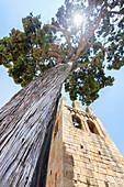 The bell tower of Sant Esteve de Canapost, Forallac, Empordà, Catalonia, Spain