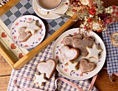 Heart-shaped biscuits and cinnamon stars for Christmas