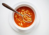 Alphabet pasta in tomato soup