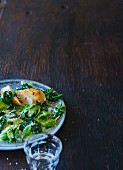 A savoy cabbage medley with coconut and chicken breast