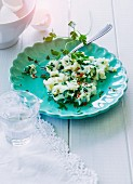 Scrambled Spanish egg whites with fresh spinach, coriander and chilli flakes