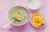 Mousse au coco – green pudding made from coconut mousse, oranges, chia seeds, spinach and chard