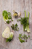 Green vegetables, herbs and bean sprouts for making smoothies