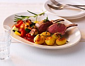 Rack of lamb with ratatouille and roast potatoes