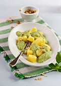Gnocchi with broccoli sauce and hazelnuts