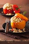 Red and yellow peppers filled with quinoa