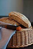 Seeded rye bread in a basket