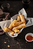 Spring rolls with chilli dip