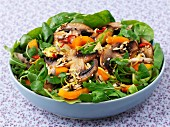 A warm mushroom salad with sesame seeds