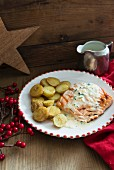 Salmon with potatoes and chive sauce for Christmas