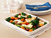 Roasted Mediterranean vegetables with halloumi cheese