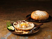 Two scallops baked in shells with Vermouth, chervil and lime