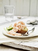 Baked potato with shrimps