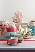Vintage-style cups and cakes stands