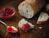 Baguette with fresh strawberry jam
