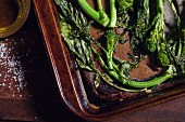 Oven-roasted broccoli on a baking tray