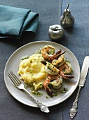 Garlic and coriander prawns on polenta