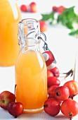 Frischer Apfelsaft in Bügelflaschen dekoriert mit Zieräpfeln