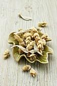 Greek mountain tea in a leaf-shaped bowl