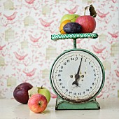 Fresh fruit on an old pair of kitchen scales
