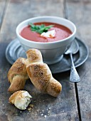 Sesame croissants and tomato soup