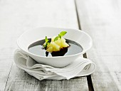 Elderberry soup with apple compote