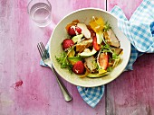 Salad with chicken breast fillet, strawberries and avocado