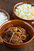 Spicy lamb curry with lemon rice